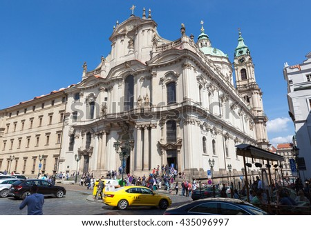 PRAGUE, CZECH REPUBLIC - MAY 14, 2016: The baroque architectural gem, Church of St. Nicholas, Lesser Town, Prague, Czech Republic