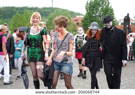 PRAGUE, CZECH REPUBLIC - MAY 05: Zombie Walk on Charles bridges on MAY 05, 2012 CZECH REPUBLIC. Unidentified people take part in Zombie Walk Parade in the center of Prague