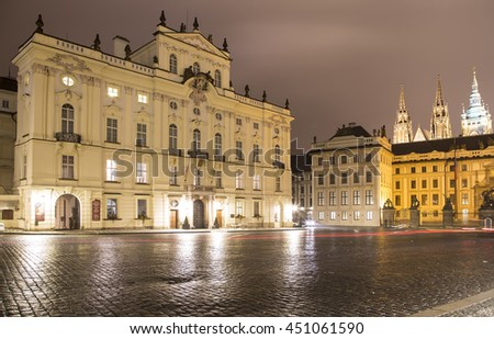 PRAGUE, CZECH REPUBLIC-  NOVEMBER 17, 2014:Landmarks, in the Prague Castle complex, Czech Republic(Night view ). Prague Castle is the most visited attraction in the city.