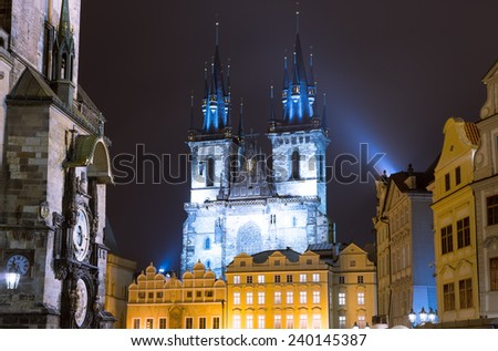 PRAGUE, CZECH REPUBLIC-  NOVEMBER 13, 2014: Night time illuminations of the fairy tale Church of our Lady Tyn (1365) in the Magical city of Prague, Czech republic