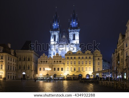 PRAGUE, CZECH REPUBLIC-  NOVEMBER 12, 2014:Night time illuminations of the fairy tale Church of our Lady Tyn (1365) in the Magical city of Prague, Czech republic