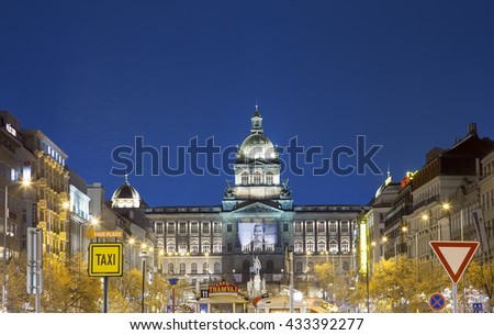 PRAGUE, CZECH REPUBLIC-  NOVEMBER 15, 2014:Night view of Wenceslas Square in the New Town of Prague, Czech Republic