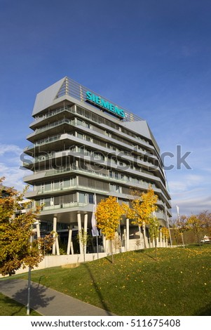 PRAGUE, CZECH REPUBLIC - NOVEMBER 7: Siemens logo on headquarters on November 7, 2016 in Prague, Czech republic. Company extends  contract at wind turbines Lower Snake River Washington project .