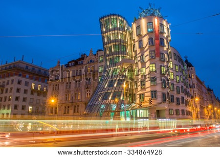 Prague, Czech Republic - November 14, 2014: The Dancing House or Fred and Ginger is the nickname given to the Nationale-Nederlanden building in Prague, Czech Republic designed Frank Gehry - stock photo