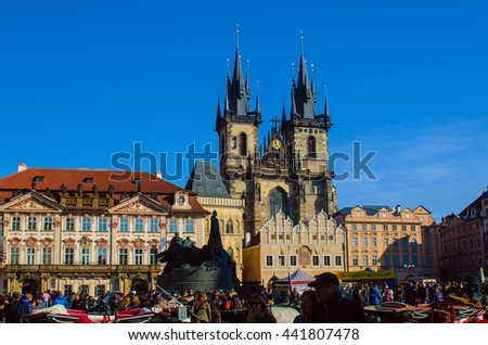 PRAGUE, CZECH REPUBLIC - OCTOBER 11, 2015: Crowds of tourists in the Old Town Square in Prague with the Church of our Lady before Tyn behind them