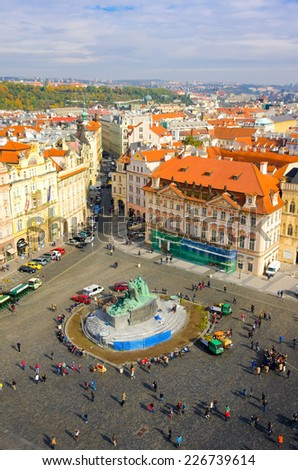 PRAGUE,CZECH REPUBLIC - OCTOBER 10: Old Town Square with tourists on October 10, 2013 in Prague. Old Town Square is a historic square in the Old Town quarter ofPrague in the Czech Republic