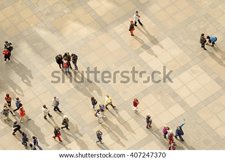 PRAGUE, CZECH REPUBLIC, 15 OCTOBER, 2015:  People on the street view from above - stock photo