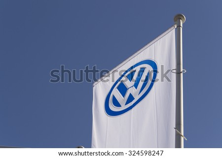 PRAGUE, CZECH REPUBLIC - OCTOBER 1: Volkswagen car maker logo on a building of dealership on October 1, 2015 in Prague, Czech republic.