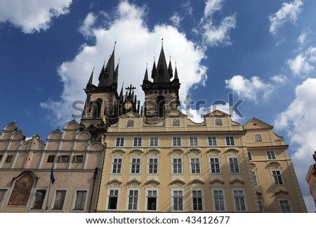 Prague, Czech republic - Old town square with its well known Tynsky church