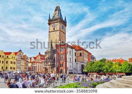 PRAGUE,CZECH REPUBLIC- SEPTEMBER 13, 2015:Astronomical Clock(Staromestske namesti)on historic square in the Old Town quarter of Prague, the capital of the Czech Republic. - stock photo