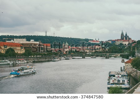 PRAGUE, CZECH REPUBLIC - SEPTEMBER 19, 2015: Autumn View of Prague on September 19, Czech Republic.