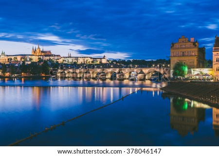 PRAGUE, CZECH REPUBLIC - SEPTEMBER 19, 2015: Charles Bridge at Night on September 19, Prague, Czech Republic. HDR image.