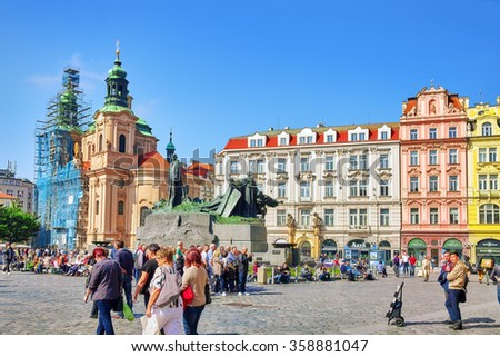 PRAGUE,CZECH REPUBLIC-SEPTEMBER 12,2015:Church of Our Church of St Nicholas and Jan Hus monumenton historic square the Old Town of Prague.It is located between Wenceslas Square and the Charles Bridge.