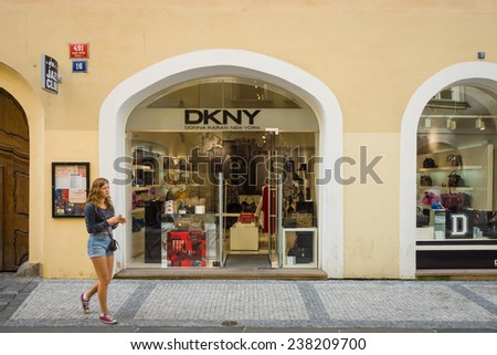 PRAGUE, CZECH REPUBLIC - SEPTEMBER 18, 2014: DKNY store. DKNY is a New York-based fashion house specializing in fashion goods for men and women founded in 1984 by Donna Karan. - stock photo