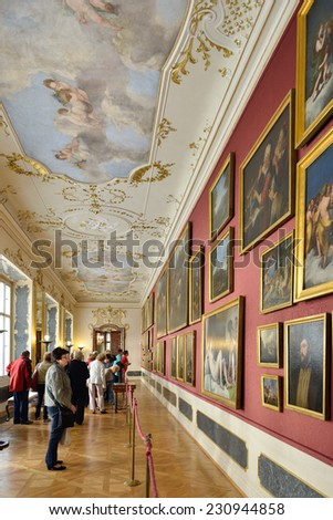 PRAGUE, CZECH REPUBLIC - SEPTEMBER 27,2014:Nostitz Palace was residence of noble family of Nostitz-Rieneck. There was renowned Nostitz Picture Gallery since 1736 and it became part of National Gallery - stock photo