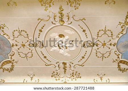 PRAGUE, CZECH REPUBLIC - SEPTEMBER 27, 2014:Nostitz Palace was residence of noble family of Nostitz-Rieneck, built between 1662 and 1675. Ceiling - stock photo