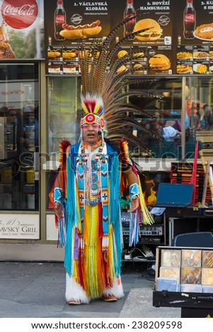 PRAGUE, CZECH REPUBLIC - SEPTEMBER 18, 2014: Performance of musicians in the clothes of American Indians on Wenceslas Square.