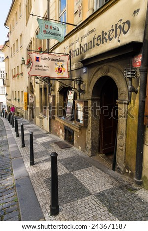 PRAGUE, CZECH REPUBLIC - SEPTEMBER 19, 2014: Street and everyday life of the city. Prague is the capital and largest city of the Czech Republic.