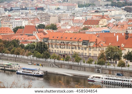 PRAGUE, CZECH REPUBLIC, September 19, 2015: View of the Vltava river with cruise tour boats