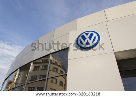 PRAGUE, CZECH REPUBLIC - SEPTEMBER 24: Volkswagen car maker logo on a building of dealership on September 24, 2015 in Prague, Czech republic. - stock photo