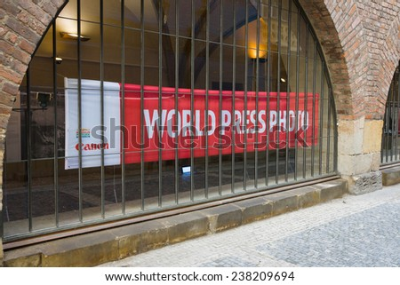PRAGUE, CZECH REPUBLIC - SEPTEMBER 18, 2014: World Press Photo Exhibition. World Press Photo is an independent, non-profit organization, the world's largest, most prestigious press photography contest - stock photo