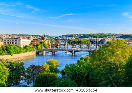 Prague, Czech Republic skyline with historic Charles Bridge and Vltava river on sunny day. - stock photo