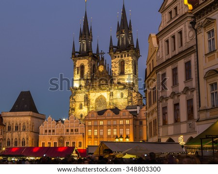 PRAGUE, CZECH REPUBLIC - 6TH DECEMBER 2015: Old Town Square in Prague at Christmas with lots of people, market stands and Church of Our Lady before Tyn