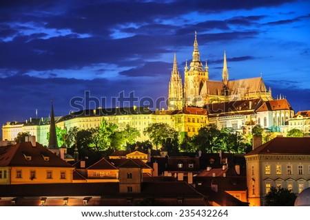 Prague, Czech Republic, view in the evening - stock photo