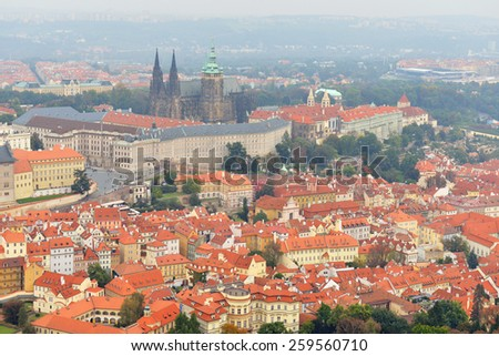 Prague, Czech Republic. Views over Prague from Petrin hill height. Highest point over Prague. Red tiled roofs of old town - stock photo