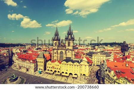 Prague, Czech Republic, vintage retro style. - stock photo
