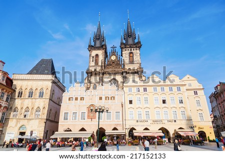 PRAGUE, CZECHIA - SEPTEMBER 03: Church of our Lady before Tyn at Old Town Square with unidentified people on September 03, 2014 in Prague. The city centre of Prague is listed by UNESCO world heritage