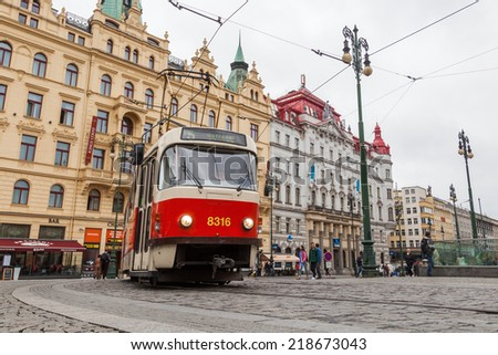 PRAGUE, CZECHIA - SEPTEMBER 02: Square of the Republic with unidentified people on September 02, 2014 in Prague. Its a busy square between Old and New Town with a variety of attractions and shopping