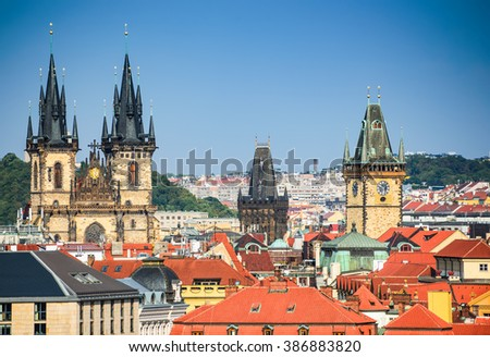 Prague, Czezh Republic. Scenic summer aerial view of the Old Town and Tyn Church architecture and over Vltava. - stock photo
