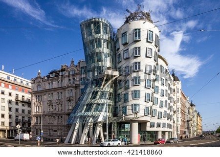 Prague, Dancing House, Czech Republic. Fred and Ginger House. - stock photo
