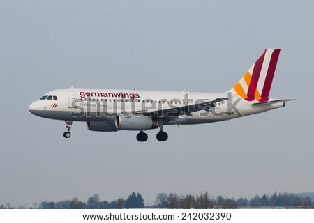 PRAGUE - DECEMBER 30: A320 Germanwings lands to PRG in Prague, Czech Republic on December 30, 2014. Germanwings  is a German low-cost airline, which is  wholly owned by Lufthansa. - stock photo