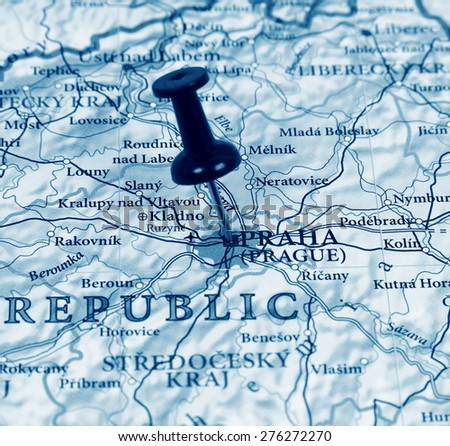 Prague destination in the map - stock photo