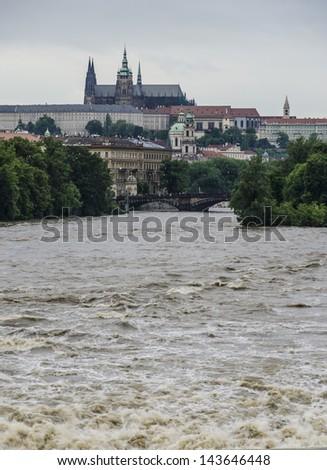 Prague during floods - stock photo
