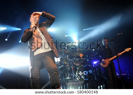PRAGUE - FEBRUARY 28: Singer James Kerr (left) of Simple Minds during performance in Prague, Czech republic, February 28, 2014