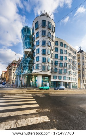PRAGUE - FEBRUARY 12, 2013: The Dancing House in the center of Prague. Seen during gloomy, winter day. The building was designed by Vlado Milunic and Frank Gehry. Built in 1996. Prague, February 12, 2013