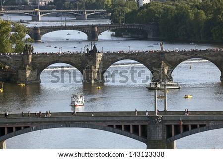 Prague - Five Bridges across Vltava River, Czech Republic - stock photo