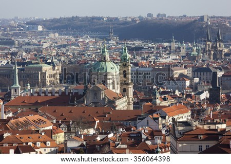 Prague from the observation deck of Strahov Monastery. Czech Republic.