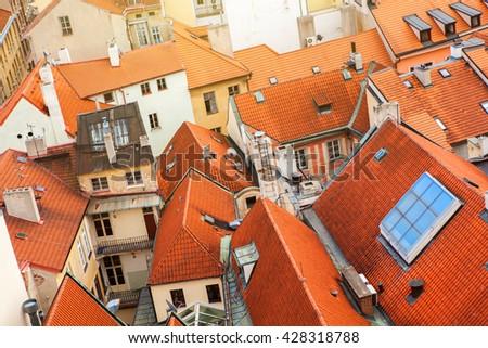 Prague houses roofs, Czech Republic - stock photo
