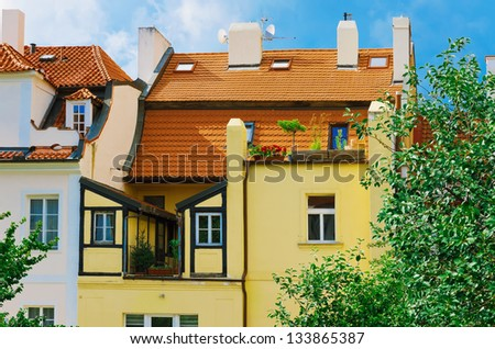 Prague houses with tiled roofs