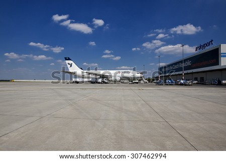 PRAGUE - JULY 1, 2015: Iran Air Airbus A300 and A310 airliner stand in Vaclav Havel airport Prague,Czech Republic. Iran air is the flag carrier airline of Iran,operating services to 60 destinations