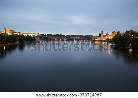 Prague- july 23, 2014:Prague cityscape at night and view at Charles bridge