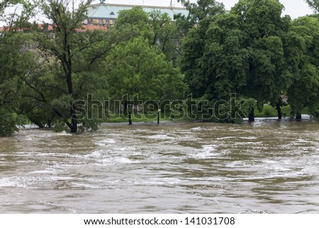 PRAGUE - JUNE 3: Massive raining caused flooding in Prague on june 3, 2013 in Czech republic. Rising Vltava river forced several parts of the city to be evacuated or to be ready for evacuation.