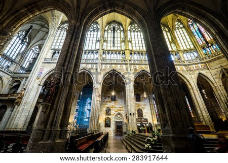 PRAGUE - JUNE 21: Saint Vitus Cathedral interior on June 21, 2014 in Prague. This cathedral is an excellent example of Gothic architecture, the biggest and most important church in the country.