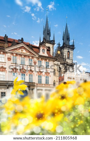 Prague main square in summer with spires of St. Mary's Church, shallow DOF, text space - stock photo