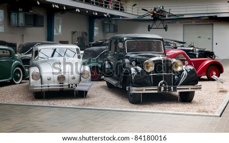 PRAGUE - MAY 19: The vintage car Tatra on display in the National Technical Museum in Prague on May 19, 2011 in Prague, Czech Republic - stock photo