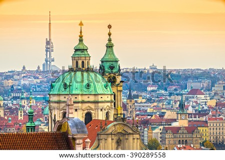 Prague, Nicholas Cathedral and Zizkov Tower. Czech Republic - stock photo